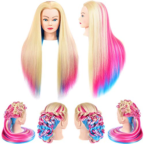 MannequinHeadHair Cosmetology Doll Head Rainbow Synthetic Fiber Hair Styling Training Head Manikin Training Model for Hairdresser Cutting Braiding Practice and Beauty Schools