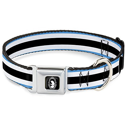 Dog Collar Seatbelt Buckle Alice in Wonderland Stripe Bow Silhouette Blue Black White 11 to 17 Inches 1.0 Inch Wide]()