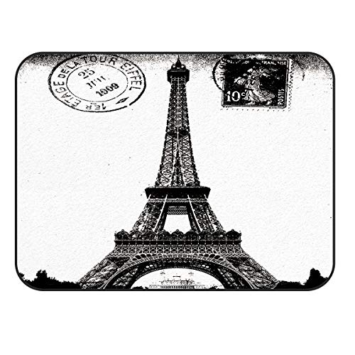 Picpeak Area Rugs for Livingroom Bedroom Vintage Stamps for The Paris Eiffel Tower in Black and White Non-Slip Floor Mat Kid's Room Carpet Nursery Home Decor 60x96in
