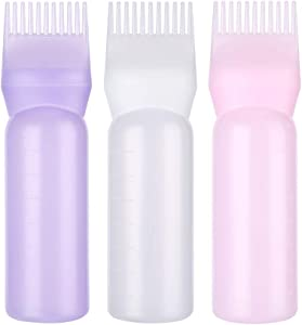 Hair Comb Applicator Bottle, Professional Graduated scale, Hair Coloring, Dye and scalp treament for Salon, Family (3 pcs)