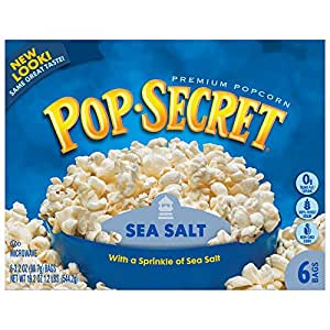 Pop Secret Microwave Popcorn, Sea Salt, 3.2 oz, 6 Count Bags (Pack of 12)