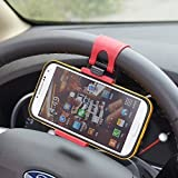 Universal Portable Steering Wheel Mobile Phone Holder / Mount / Clip / Buckle Socket Hands Free Steering Wheel for iPhone 4, 5, 5S, 6, 6S, 6 Plus Samsung S3 S4 S5 S6 Etc with Max 5.5 Inch / 13.97 Cm Screen Size