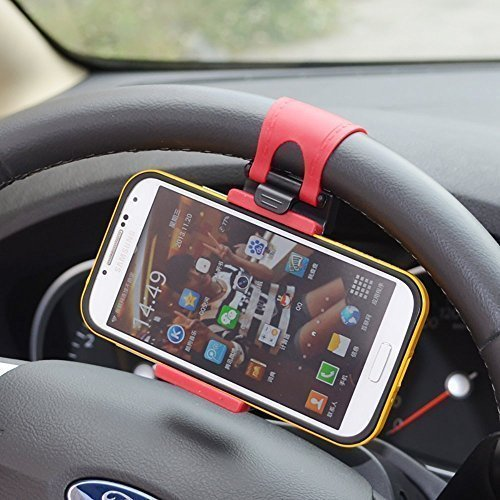 MMOBIEL Universal Portable Steering Wheel Mobile Phone Holder/Mount / Clip/Buckle Socket Handsfree Steering Wheel for iPhone Samsung Etc with Max 5.5 Inch / 13.97 Cm Screen Size