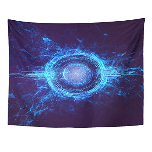 Plbfgfcover Design Hitech Hologram Globe Earth 3D Render World Cyber Circle Abstract Power Bar Creative Home Decor Wall Hanging Tapestry