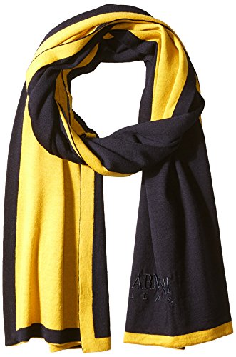 A|X Armani Exchange Armani Exchange Men's Pure Merino Wool Knit Scarf With Embroidered Brand Name, Navy Yellow, One Size by A|X Armani Exchange