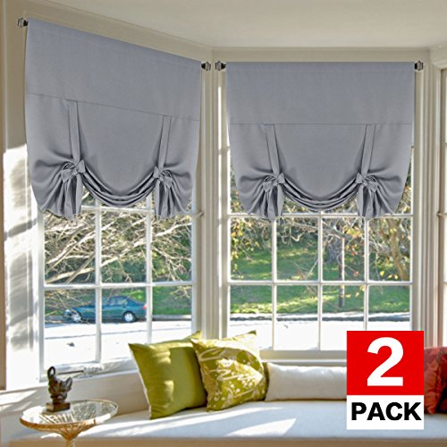 (H.VERSAILTEX Thermal Insulated Blackout Tie Up Curtains Adjustable Window Shades for Living Room, Rod Pocket 2-Pack, 42 x 63 Inch Long - Solid in Dove Gray)