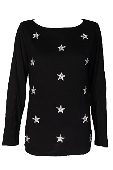 4a8fb9ccf1759 INC Womens Stars Embellished Long Sleeves Pullover Top Black M at ...