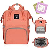 Diaper Bag Travel Backpack Large Capacity Multi-Function Waterproof Nappy Bags for Baby Care Durable Nursing Bag for Mummy Contains 2 Free Saliva Towels (Orange)