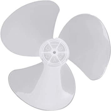 dPois Plastic Fan Blade Leaves Universal Household Standing Pedestal Fan Table Fanner Replacement Part with Nut Cover Grey 12 Inch