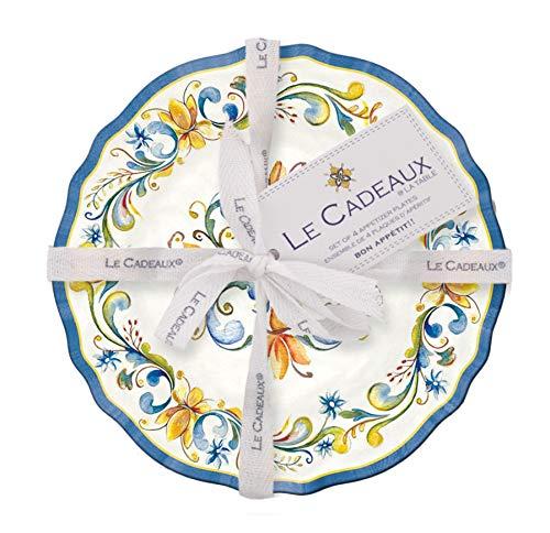 Le Cadeaux Melamine Floral Harvest - Set of 4 Appetizer plates