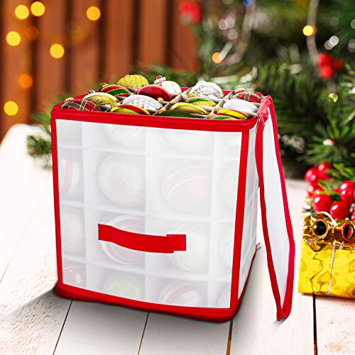 Gimsan Christmas Tree Decorations Bauble Storage Box, Christmas Decorations Bauble Storage Bag with Compartments, Christmas Baubles Storage Box with Zip for Xmas Decoration Accessories