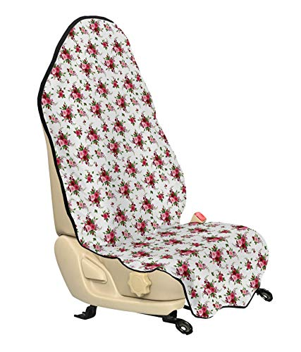 Ambesonne Flowers Car Seat Cover, Bridal Bouquets Pattern with Roses and Freesia Romantic Victorian Composition, Car and Truck Seat Cover Protector with Nonslip Backing Universal Fit, Pink Ruby Green