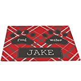 GiftsForYouNow Plaid Personalized Pet Feeding Mat, Red