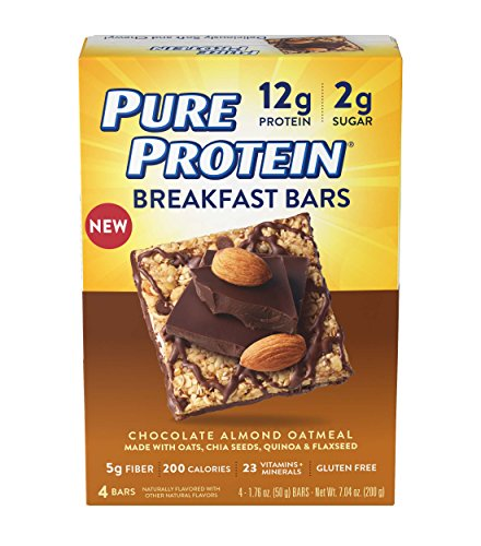 Pure Protein Breakfast Bars, Chocolate Almond Oatmeal, 1.76 oz, 4 Count