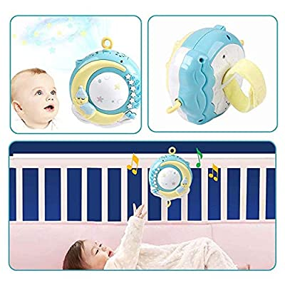 SELLBINDING Baby Bed Bell Toy, Baby Musical Crib Mobile with Timing Function Projector Lights,Stand-Along Rattles and 150 Melodies Music Box with Remote Control for Newborn 0-24 Months: Toys & Games