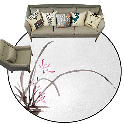(Hedda Clare Modern Rugs,Art,Traditional Ink Orchid Flower Drawing Oriental Chinese Effects Spiritual Theme,Charcoal Grey Pink,Welcome Mat Living Room Rug4.6 feet)