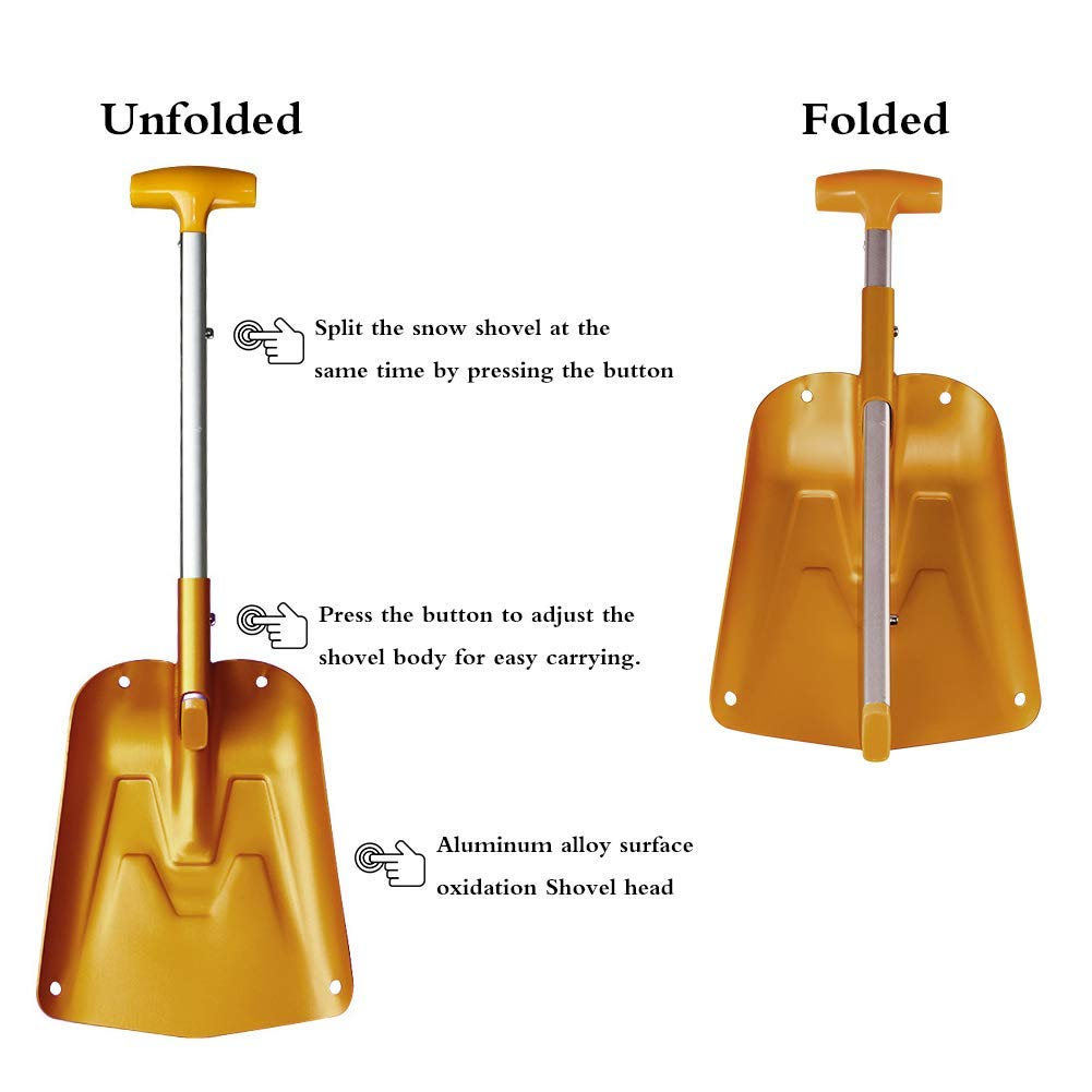 AceCamp Lightweight Collapsible Snow Shovel, Portable Adjustable Aluminum Emergency Shovel, Foldable Telescopic Winter Shovel for Car, Camping, Home by AceCamp (Image #5)