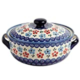 "Polish Pottery Blue & Red Flowers Round Covered Serving Dish, 10""L x 8.5""W x 5.75""H w/ 60-oz Capacity"