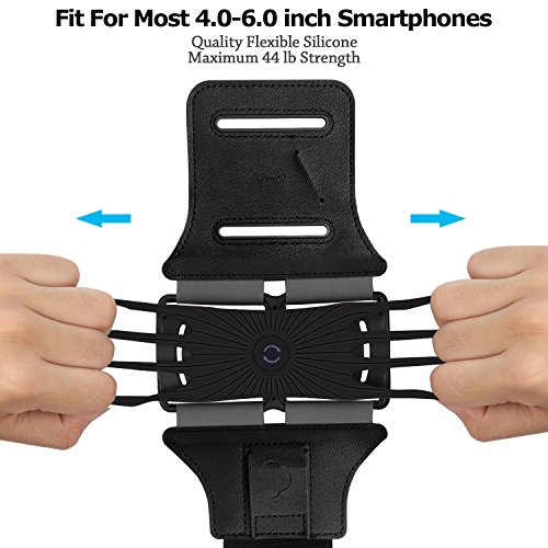 Simptech Running Phone Armband for iPhone X/8/7/6/6S Plus, Galaxy S8/S7/S7 Edge,180°Rotatable Design with Key Holder Ideal for Workout Jogging Hiking Biking by Simptech (Image #4)
