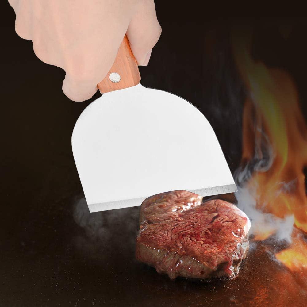 in Acciaio Inox con Raschietto per Cottura alla Bistecca e fritta Pala per Barbecue HelloCreate