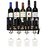 Wall Mounted Metal Home Wine Rack with Glass Holder with Cork Storage Decorative Kitchen Hanging Bottle Glasses Shelf Stemware for Living Room Decor by Gift Boutique