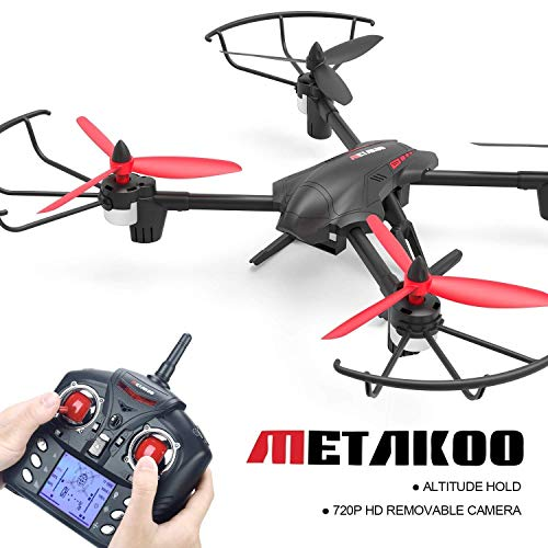 Quadcopter Drone, Metakoo D1 RC Drone with 720P HD Camera Detachable, Large Battery Capacity for Beginners, Altitude Hold, 3D Flips, Headless Mode, Auto Return, Speed Adjustable, a Key Takeoff/Landing