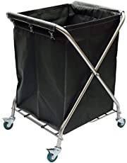 YXX-Serving Cart Trolley Commercial Folding Laundrys Sorter Cart Hotel Linen Trolley Laundry Hamper on Wheels with Removable Bags (Color : Black)