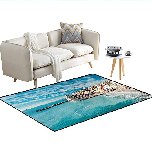 - Carpet,Panorama of Old Italian Fishing Village Beach in Old Province Coastal Charm Image,Outdoor Rug,Turquoise 40