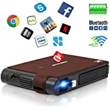 Smart Pocket Mini Projector, 1080P WIFI Home Theater Pico Rechargeable Video DLP Projector Support Bluetooth HDMI USB Keystone Correction Bluetooth Built-in Battery Stereo Audio, Wireless Airplay WIFI