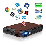 DLP WiFi Projector Portable, Wireless Android Projector 1080p with Built in Battery & Bluetooth & Speaker & Keystone Correction, HD Projectors Support 1280x720 for Movie Games