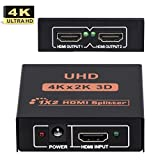 HDMI Splitter 1 In 2 Out, Dual HDMI Output Amplifier Switcher HUB Box Support 3D 4Kx2K 2160p 1080p Scale up to HDMI v1.4 And HDMP v1.3