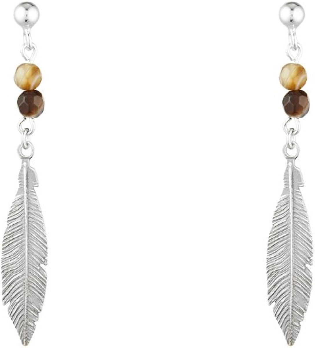 Córdoba Jewels | Pendientes en plata de ley 925 bañada en óxido con piedra semipreciosa. Diseño Indian Ámbar Swarovski