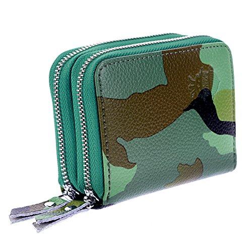 Women's Premium Faux Leather RFID Secure Spacious Cute Zipper Card Wallet Small Purse
