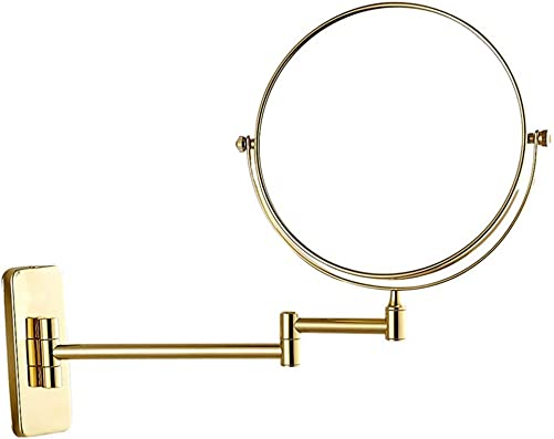 Mirror Bathroom 3X 5X 7X 10x Magnification Double-Sided 6 Inch Round Wall Mounted Vanity Swivel,Shaving Wall Mounted,Gold,10x