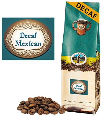 Mystic Monk Coffee: Decaf Mexican Whole Bean (Swiss Water Process Medium Roast 100% Arabica) - 12 ounce (Mystic Water)