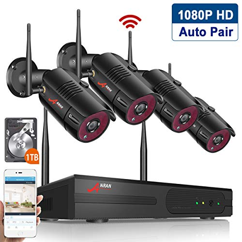 Wireless Home Security Cameras System,4CH 1080P HD NVR Outdoor Surveillance System with 2MP Outdoor IP Security Cameras, P2P Wifi NVR Kits, Night Vision,1TB HDD Pre-installed Easy Remote View by ANRAN