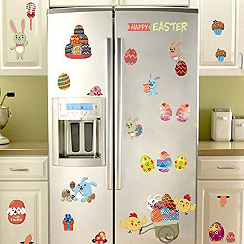 IARTTOP Happy Easter Wall Decal Adorable Easter Bunny Eggs Chick Wall Sticker for Kids Room Decoration, Door Fridge Window Cling Decal
