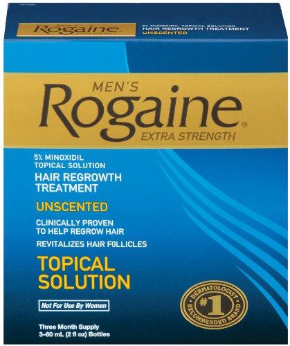 Rogaine pour les hommes cheveux traitement repousse, Extra Strength origine inodore, Lot de 3, 2 onces Bouteilles