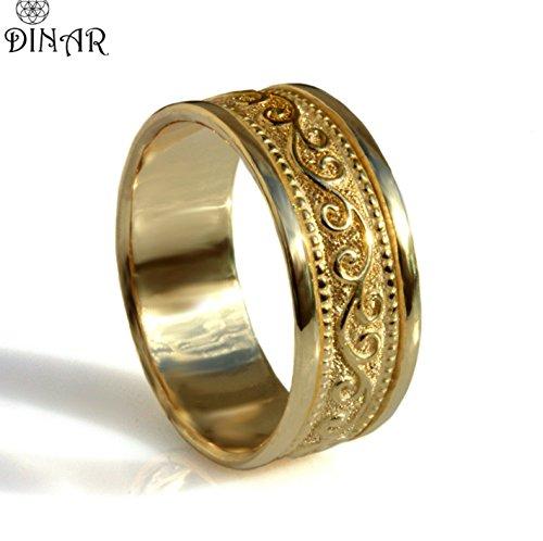 Solid gold wide men band Art deco style scrolls pattern milgrain edge handmade wedding ring for women 14k 18k All colors - Milgrain Edge Ring Wedding