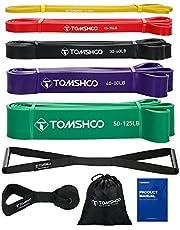 TOMSHOO Träningsbandsset, motståndsband, träningsband motståndsband 100 % naturlig latex gymnastikband pull up-band motståndsband för styrketräning och fitness