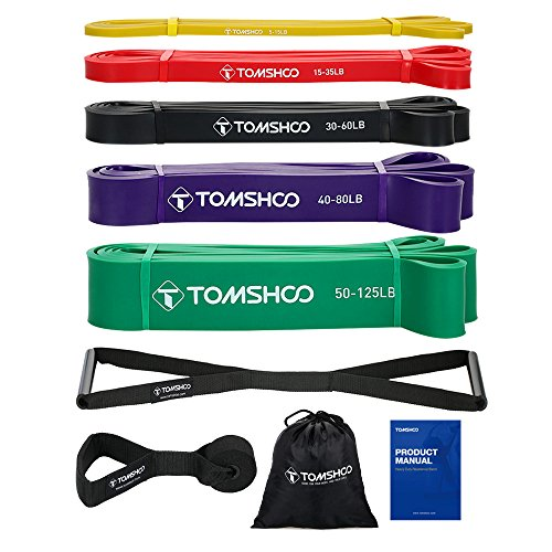 TOMSHOO 5 Packs Pull Up Assist Bands Set Resistance Loop Bands Powerlifting Exercise Stretch Bands with Door Anchor and Handles by TOMSHOO