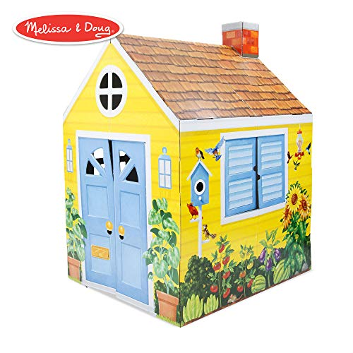 (Melissa & Doug Country Cottage Indoor Playhouse (Role-Play Center, Sturdy Construction, Vibrant Exterior Artwork, 54