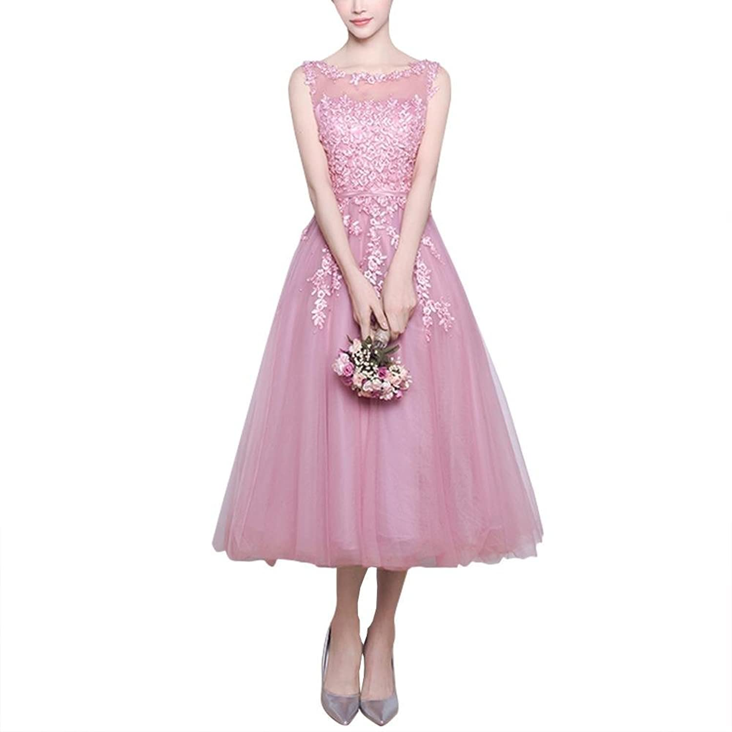 TrentDresses Women's A-line Tea Lengrh Organza Prom Dress