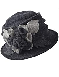 FORBUSITE Lady Trimmed Wool Bucket Hat for Winter