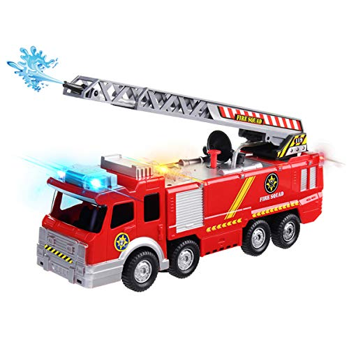 Conthfut Fire Engine, Fire Truck Toy, Battery Operated Electric Car Rescue Vehicle with Manual Water Pump Extending Ladder Flashing Lights Bump and Go Action Car Toy for Kids
