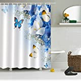 LB Flowers Butterfly 3D Digital Printing Anti Bacterial Waterproof Personality Polyester Fabric Bathroom Shower Curtain for Home/Travel/Hotel with Hooks, 71x71 inch