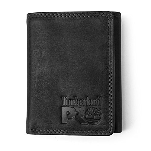 Timberland PRO Men's Leather Trifold Wallet with ID Window,  Black/Bullard, One Size