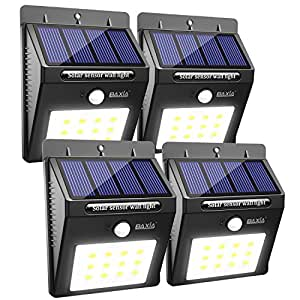 BAXIA TECHNOLOGY Solar Lights Outdoor, Wireless Waterproof Solar Motion Sensor Security Light for Garden,Yard,Fence,Pathyway,Outside Wall[12 Leds,4 Packs]