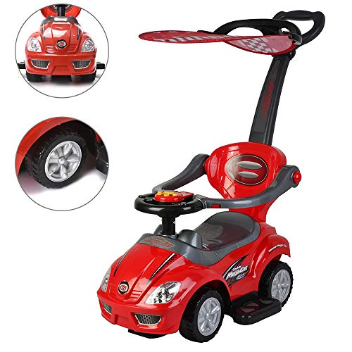 - ChromeWheels 3 in 1 Ride on Toys Pushing Car with Removable Sun Visor,Mega Car for Toddler Wagon Handle Stroller,Color Red