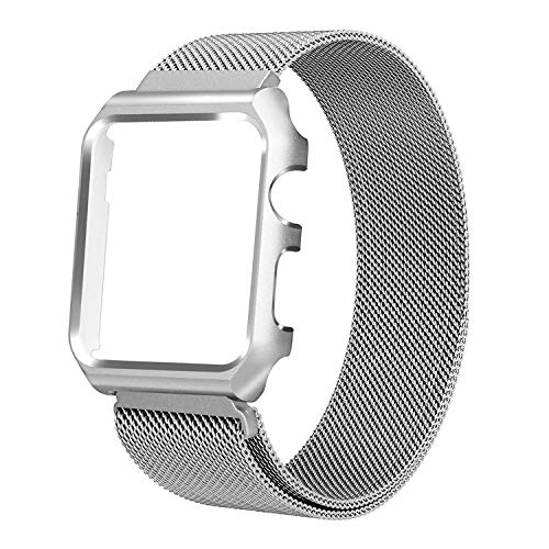Winmy Metal Band Case for Apple Watch Bands 38mm Stainless Steel Magnetic Mesh Loop Strap, Bumper Protect Cover Frame Replacement for iWatch Series 3 2 1 - Silver (NOT for Series 4)